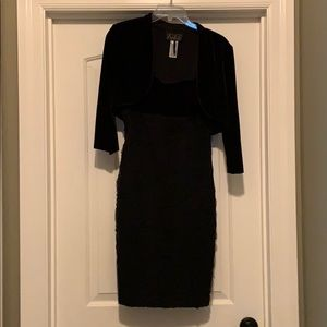 Beautiful classic black velvet and polyester dress